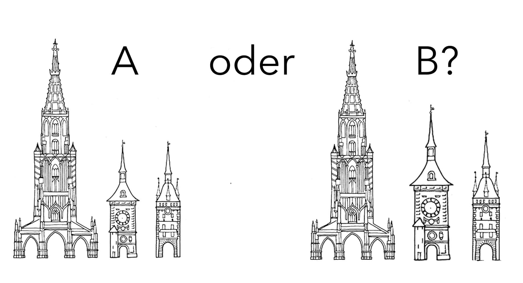 Vergleich: Wie hoch sind die Türme: Bild A oder B?